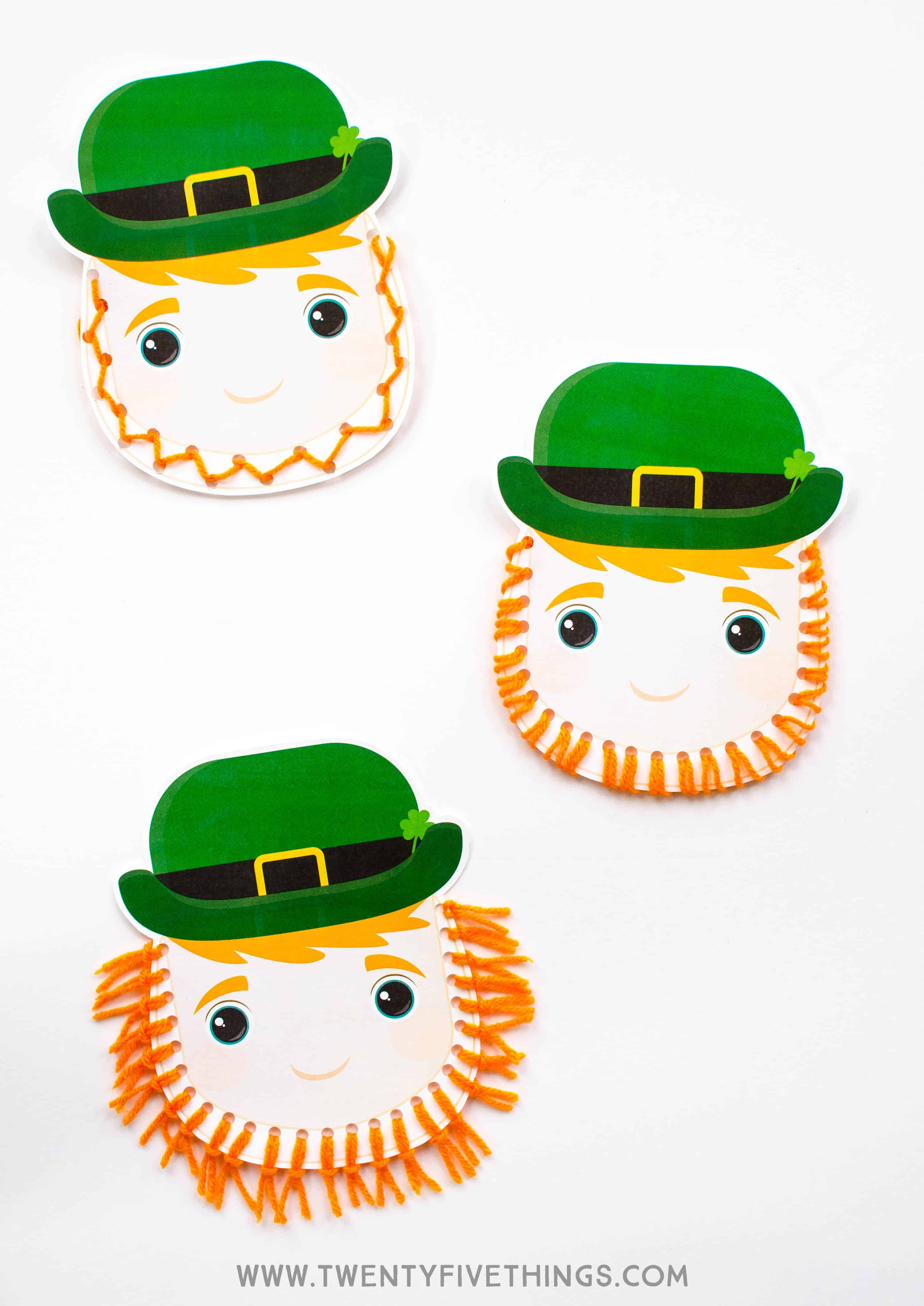 Use our free printable to make these leprechaun crafts with your kids! They can make his beard with yarn three different ways. Great for kids of different ages and abilities.