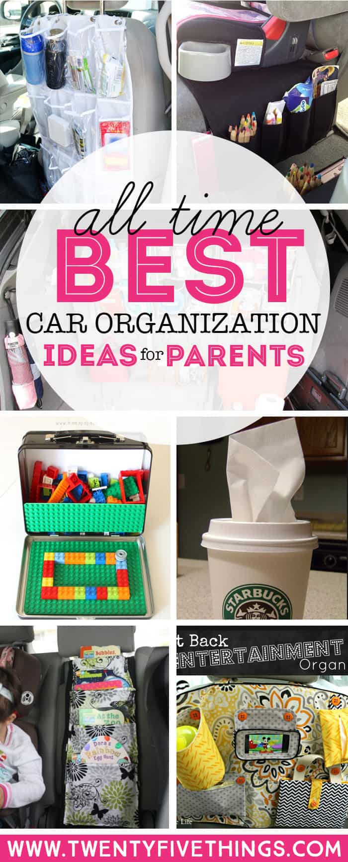 Get the all-time best car organization ideas if you have kids. This article will show you how to finally have a place in your vehicle for everything your kids need when riding around town or during longer car trips. #CarOrganization #kids #hacks