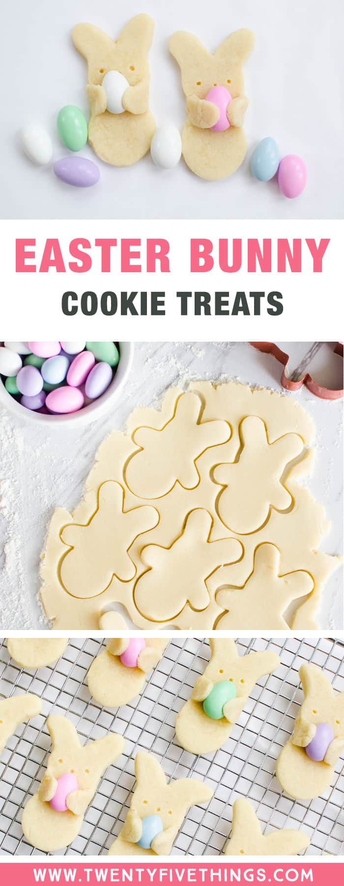 These Easter bunny cookies are so cute and look like they're carrying Easter eggs! Learn how to make these fun and tasty Easter treats for kid, or bake them up for your Easter party this year!