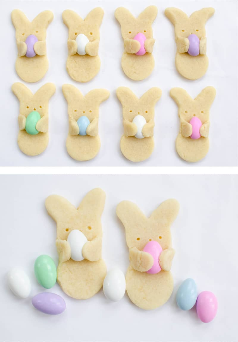 Super-cute cookies that look like bunnies holding Easter eggs. Perfect for Easter celebration or Easter treat for kids.