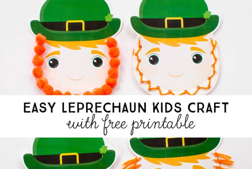 Use our free printable and orange yarn and pom poms to make this easy Leprechaun Craft for Kids