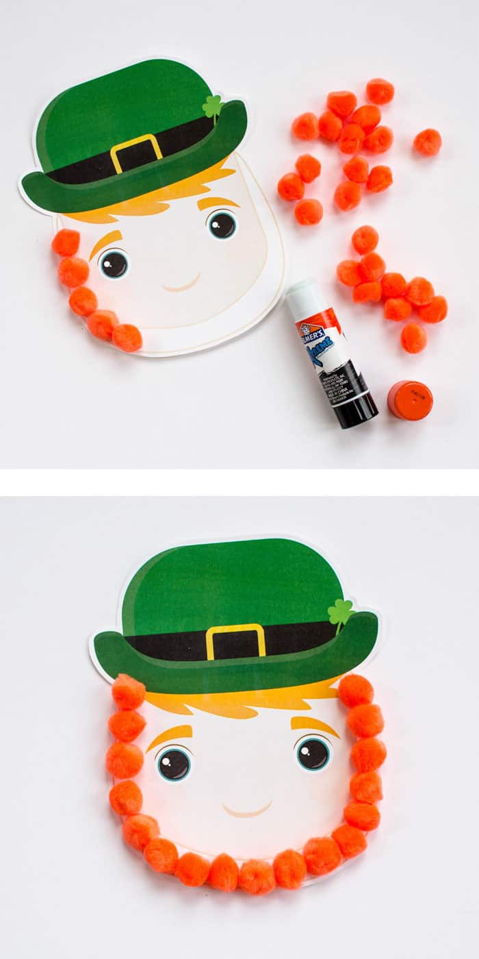 Make this easy leprechaun craft for kids using our free printable and orange pom poms.