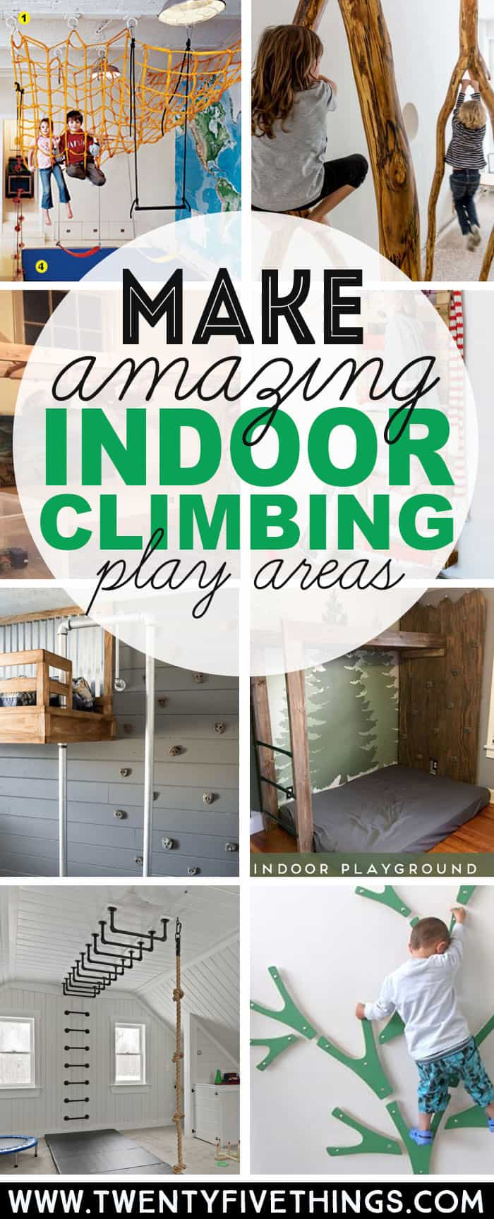 Keep kids active and challenged, even in bad weather, with these 14 DIY Climbing Spaces for Kids Indoor Play. I know my kids end up climbing the walls anyway when they've been cooped up inside for too long. I can easily add a climbing wall in a bedroom or hallway. Lots of great ideas here. #climbing #kidsactivities #DIY #indooractivities #play