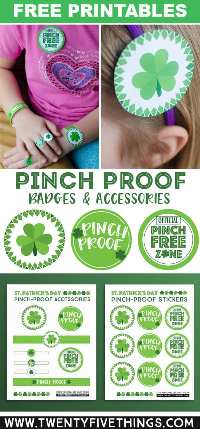 No green? No worries! Just download and print these festive St. Patrick's Day accessories for a Pinch Proof St. Patricks Day. These pinch proof printables are easy to cut out and wear as a ring, bracelet, or print onto sticker paper and use as a sticker you can put right on a shirt! #PinchProof #FreePrintables #StPatricksDay