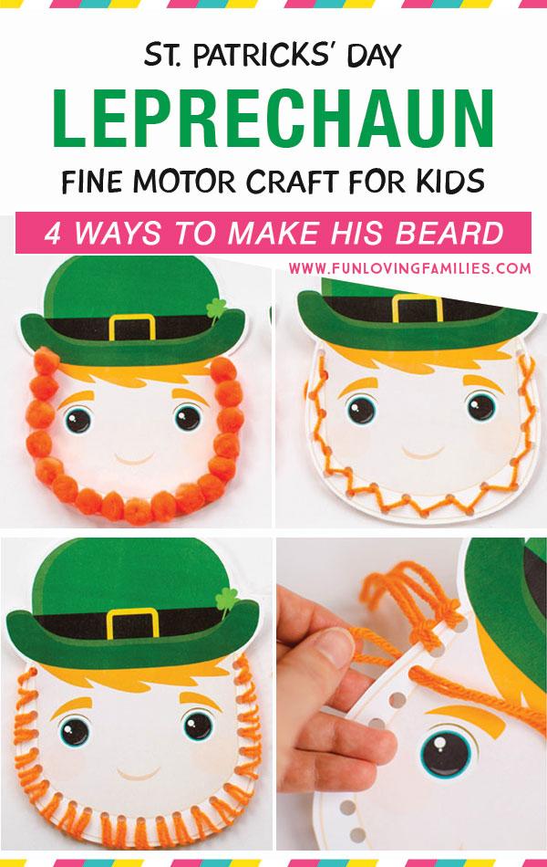 leprechaun craft for kids to practice fine motor skills