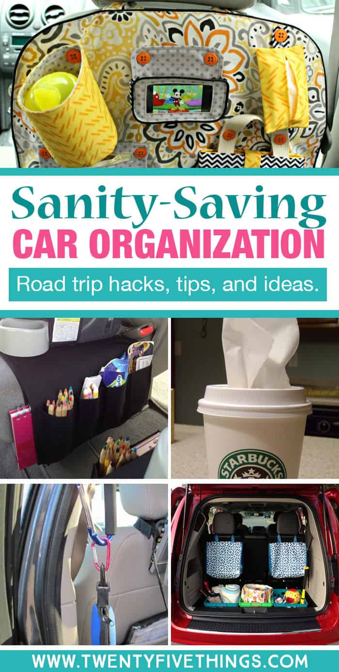 Lots of road trip organization hacks, tips, and ideas to keep the kids happy and the ride as stress-free as possible for mom and dad.