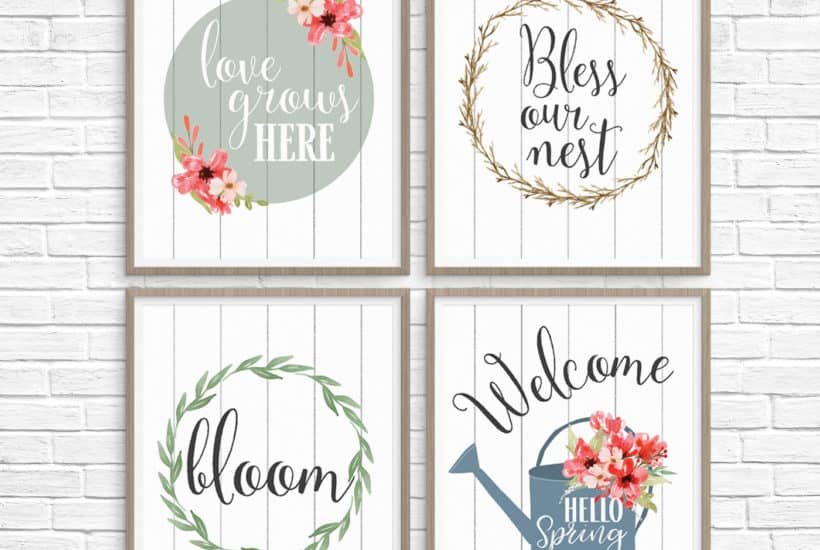 5 Printable Spring Wall Art Farmhouse Style Prints