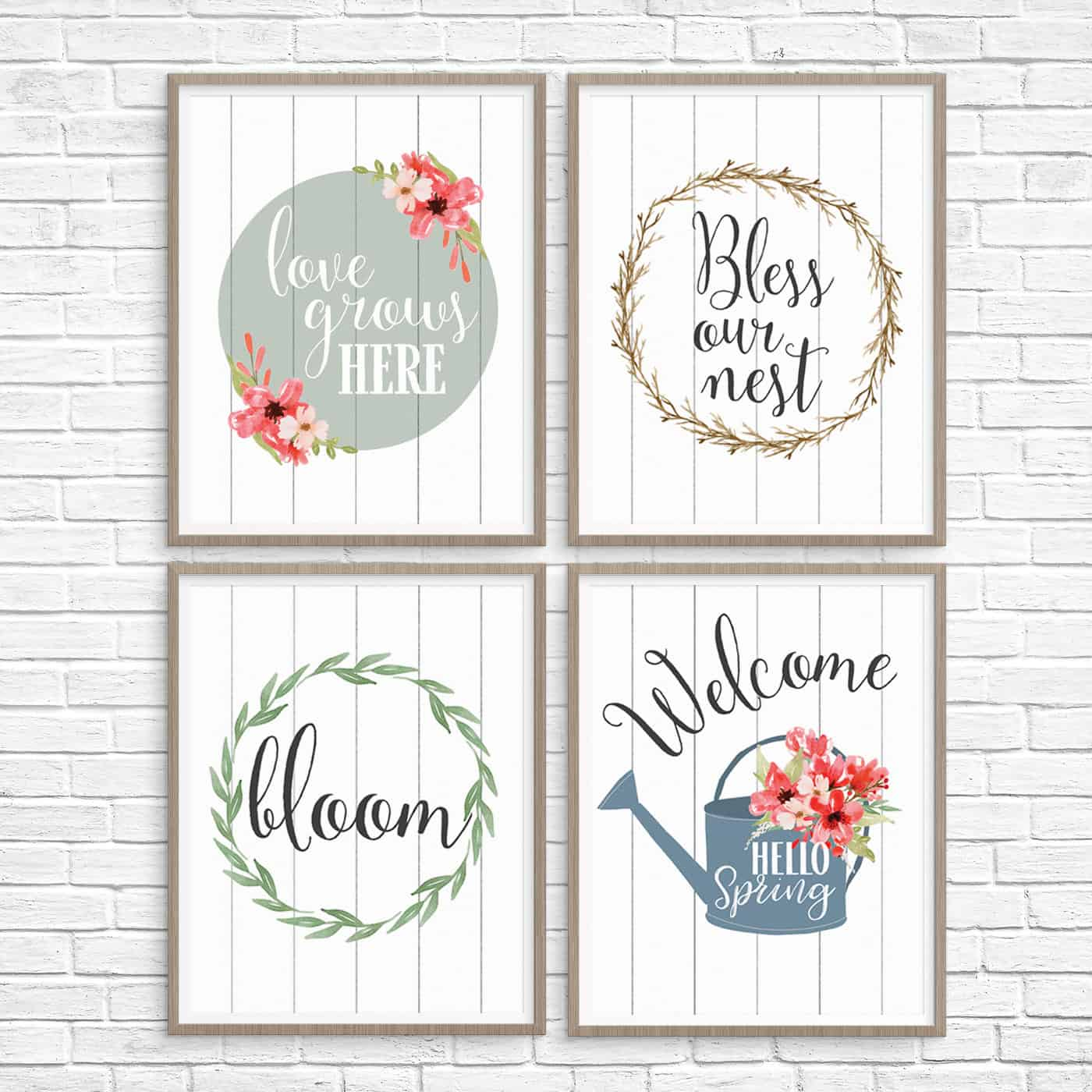 graphic relating to Spring Printable known as 5 Printable Spring Wall Artwork Farmhouse Design and style Prints - Enjoyable