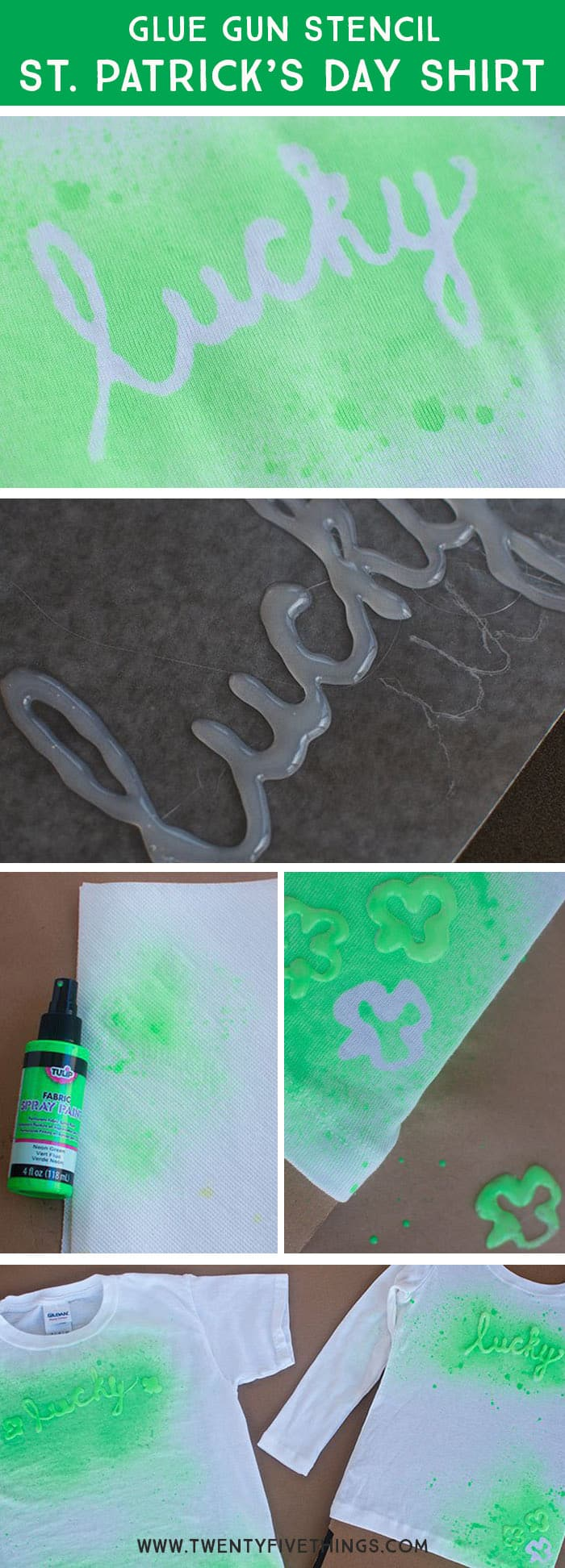 Design your own St. Patrick's Day shirt using a glue gun and fabric paint. St. Patrick's day craft for tweens and teens.