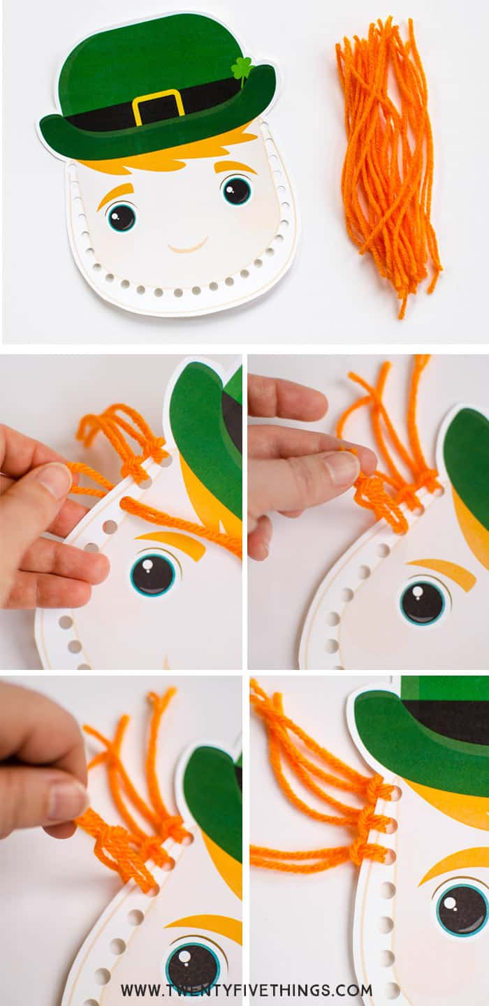 Follow these instructions to make a tassel beard for your leprechaun.