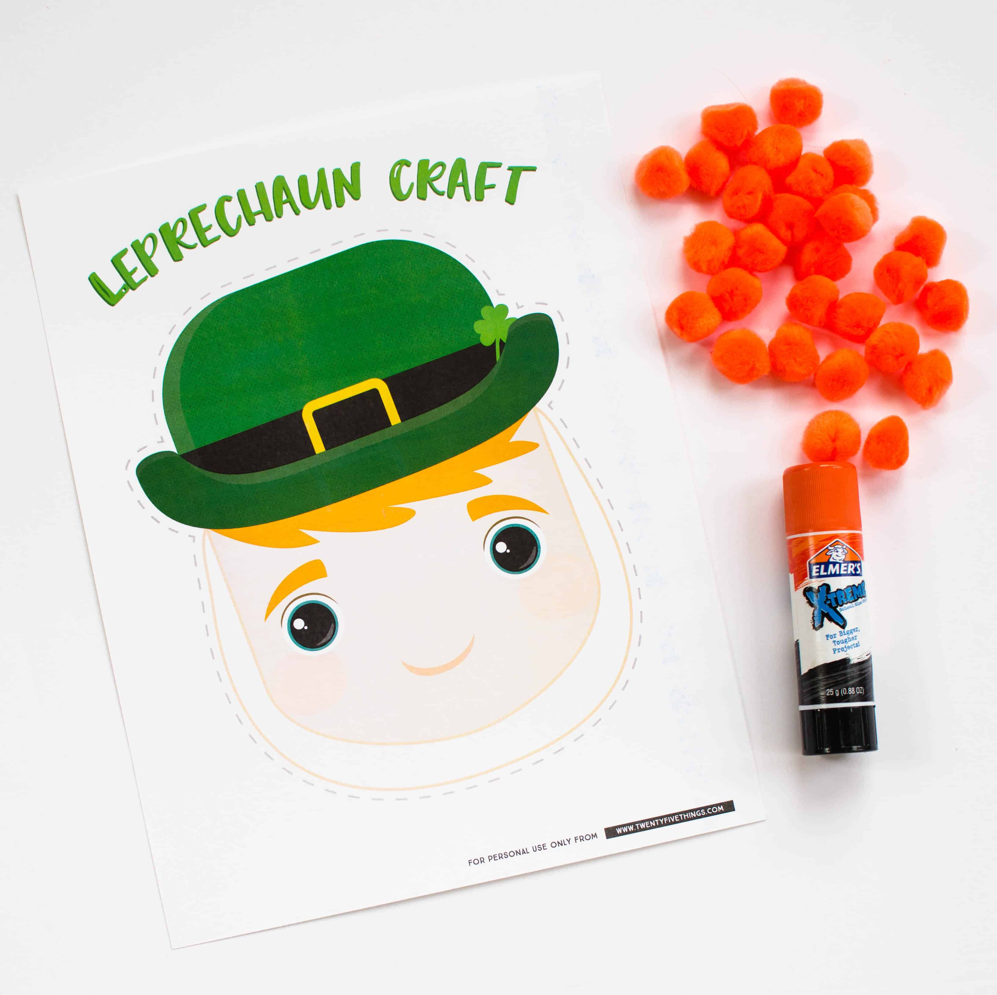 Use our free printable and orange pom poms to make this easy leprechaun craft for preschoolers