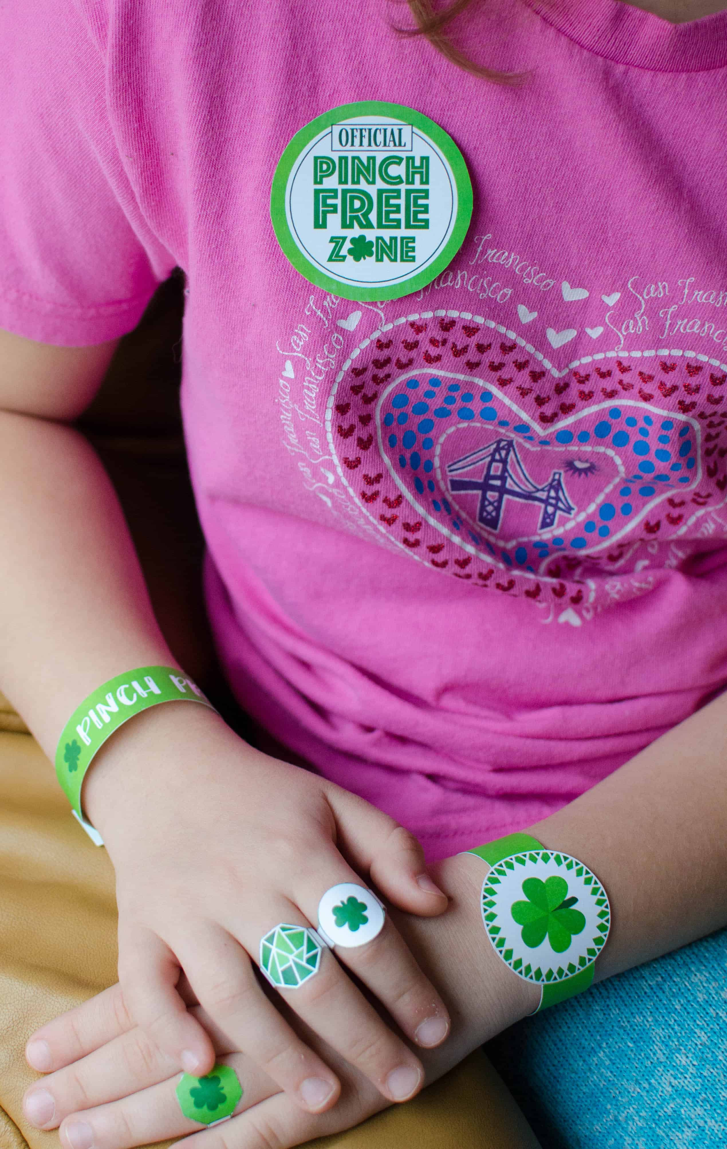 Don't worry if you don't have green in your wardrobe. Print out these St. Patricks Day badges, bracelets, and rings to add a touch of green to your outfit and stay totally Pinch Proof. #StPatricksDay