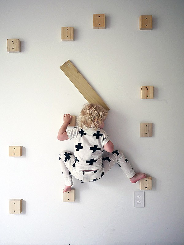 Simple wood block climbing wall for kids, via Design for Mankind.