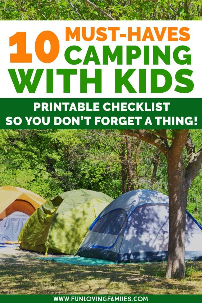 camping tents and text overlay with camping with kids