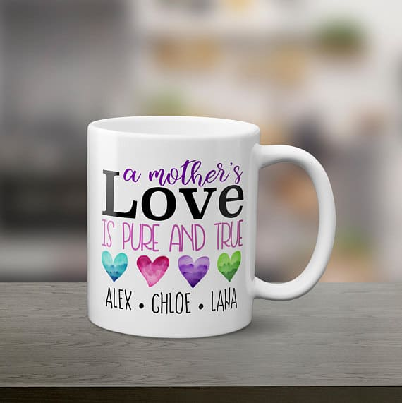 A Mother's Love personalized gift for mom with kids names. Click through for more personalized gifts your mom will love.