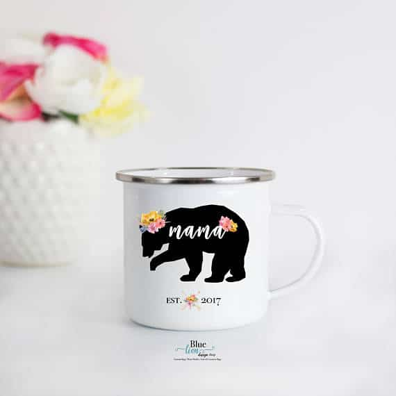 Personalized Mama Bear mug gift for mom.