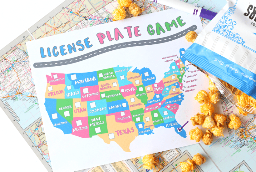 Printable License Plate Game travel game for kids