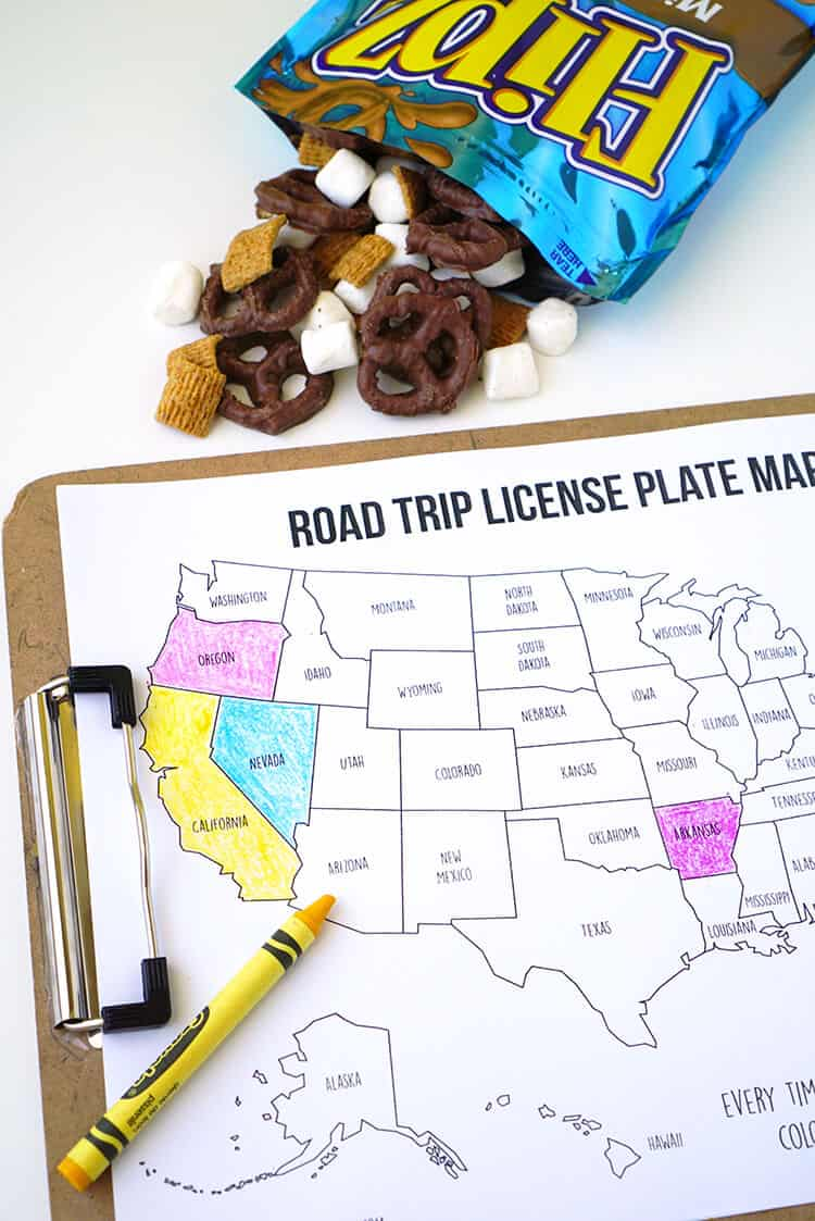 Printable road trip license plate coloring map from Happiness is Homemade.
