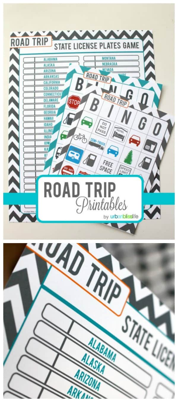 Printable road trip activity set from Urban Bliss Life for Today's Creative Life. Click through for more fun road trip game ideas for kids.