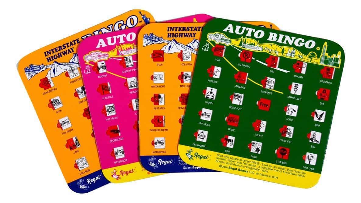 kids travel games, travel bingo cards