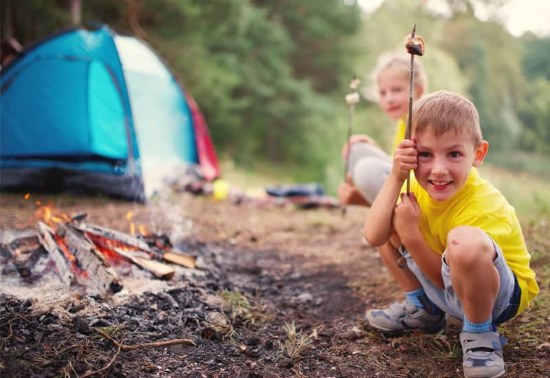 kids with tent, camping