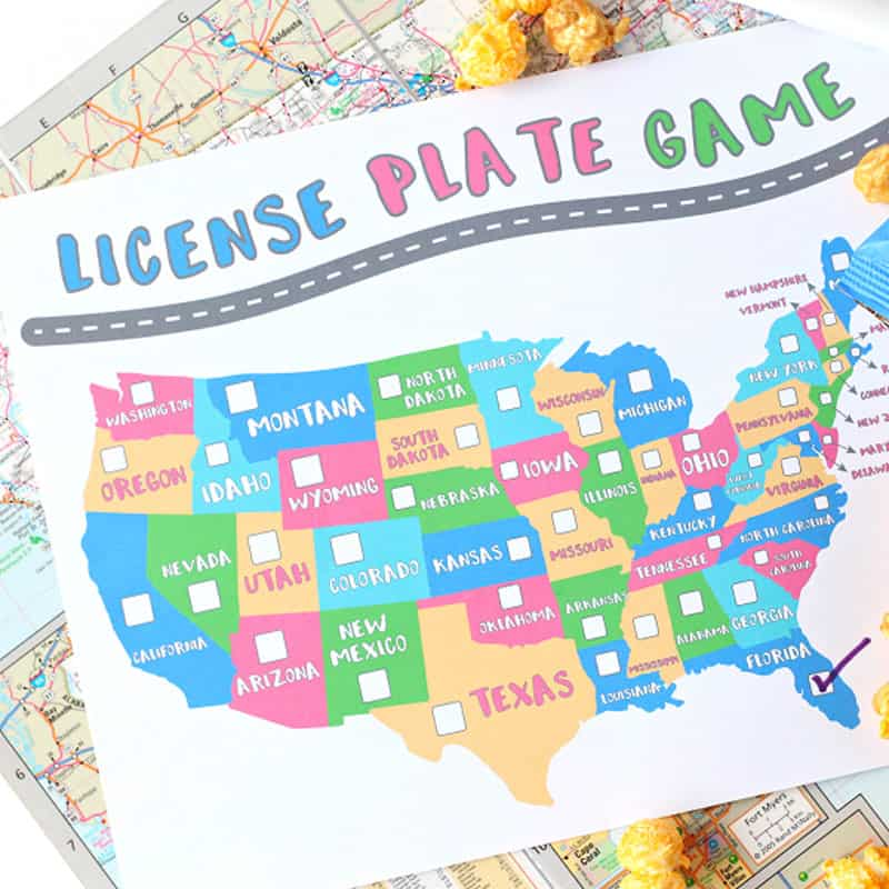 Printable license plate game from Raising Whasians