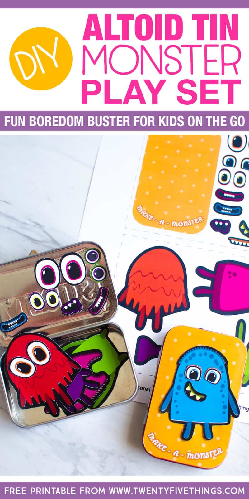 DIY Altoid Tin play set for kids: This adorable make-a-monster game for kids is super simple to put together. All you need is the free printable, an empty mint tin, and a magnet sheet. Keep them in your purse to keep the kids entertained at restaurants and doctor's appointments.
