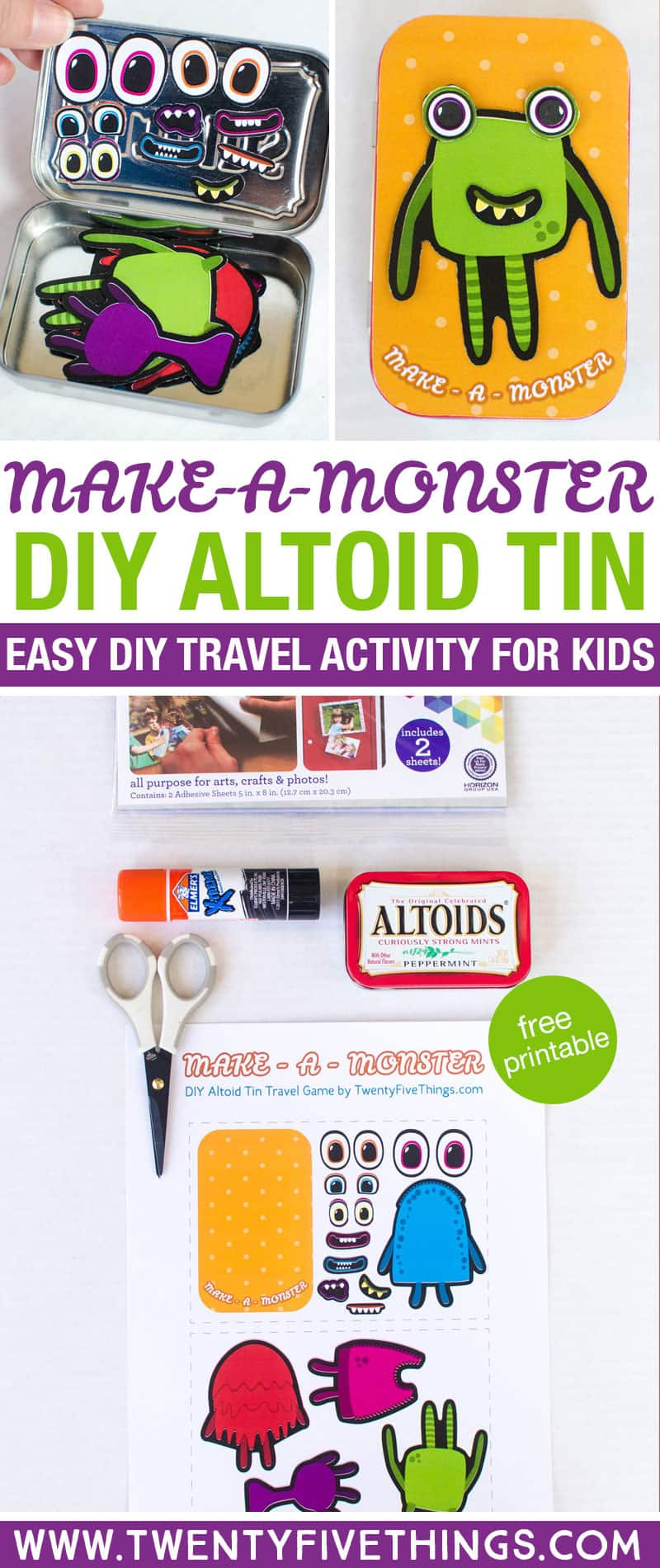 Grab the free printable to make this Altoid Tin Monster activity set. This is really easy to make and it comes in super-handy while waiting at restaurants or riding in the car.