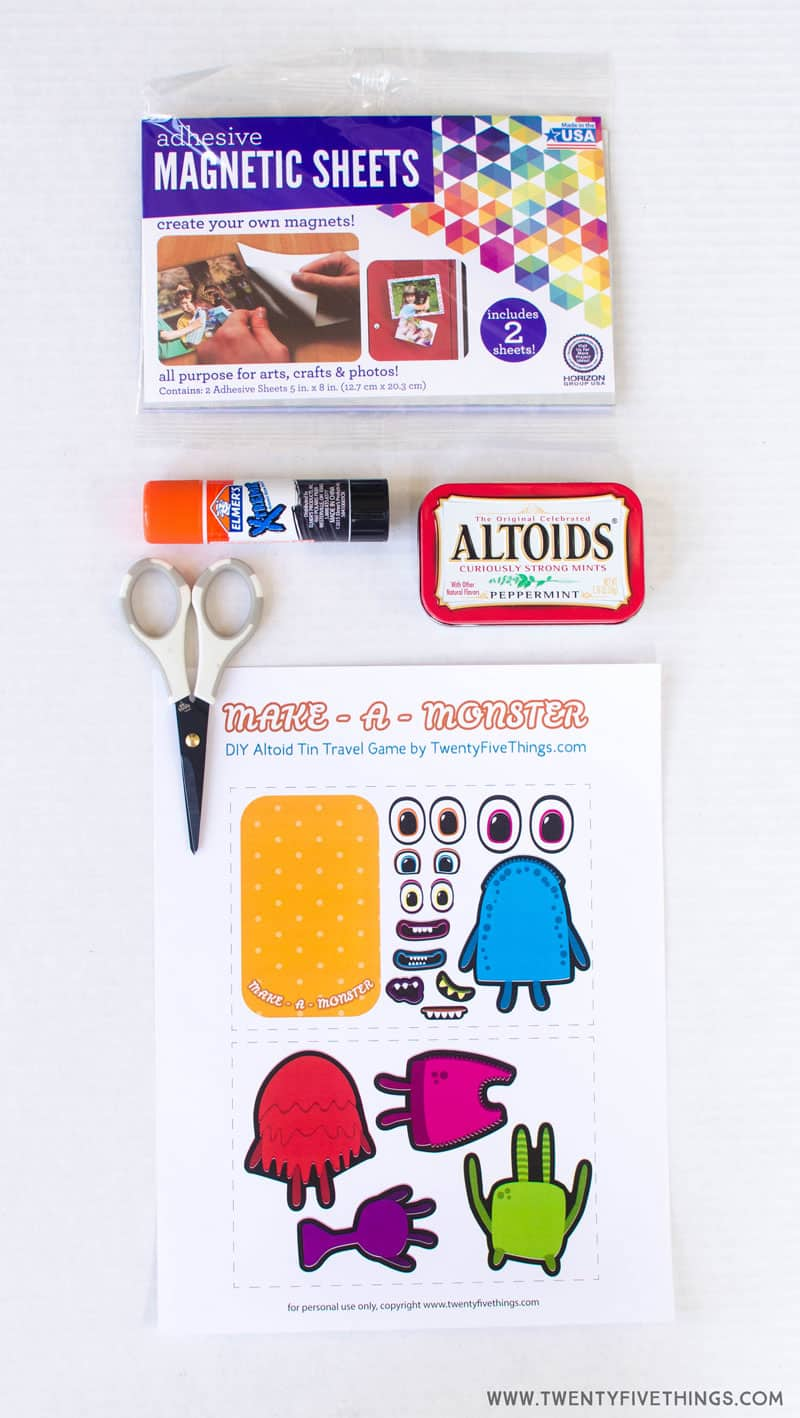 Supplies for Make A Monster magnetic altoid tin game for kids.