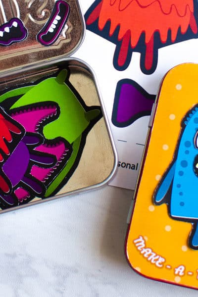 Make a DIY Altoid tin magnetic travel game for kids. Easy travel activity for kids with free printable.