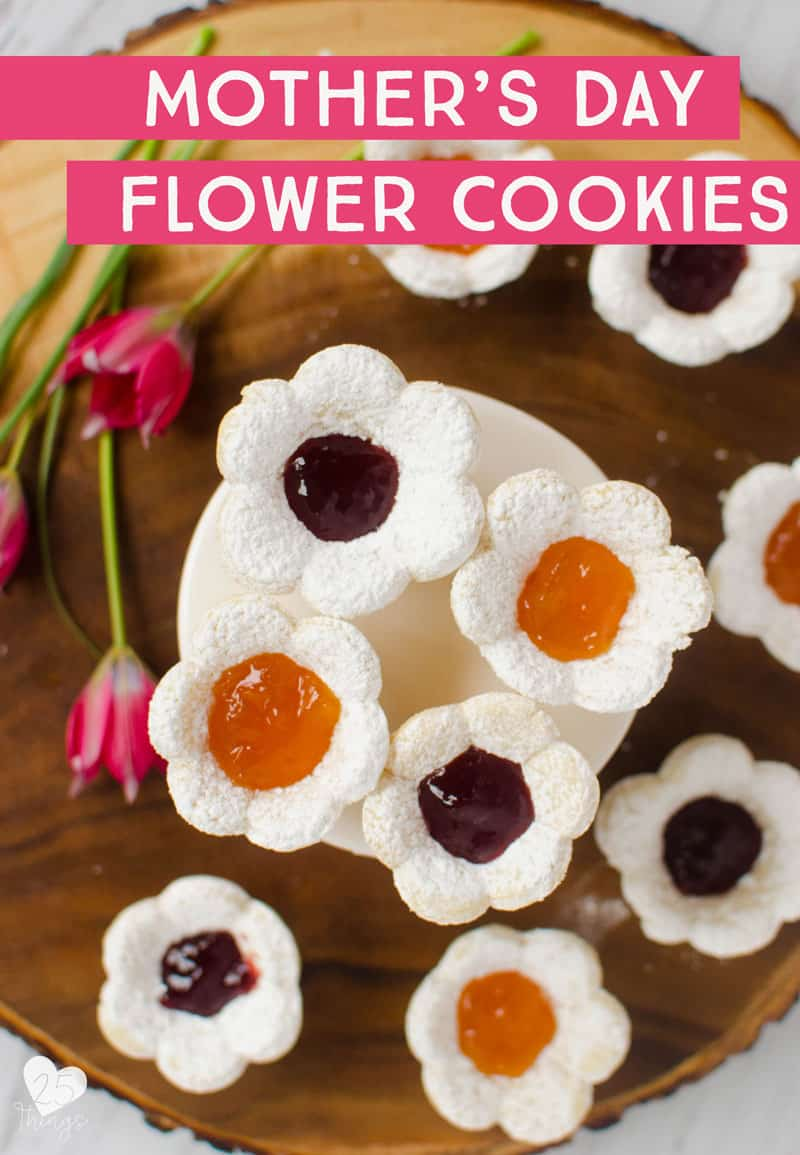 Learn how to make these adorable flower shaped sugar cookies and add a sweet treat to your Mother's Day Brunch. These jam-filled flower sugar cookies are so pretty and not too fussy. Their jam-filling makes them the perfect cookies for brunch or tea-time.