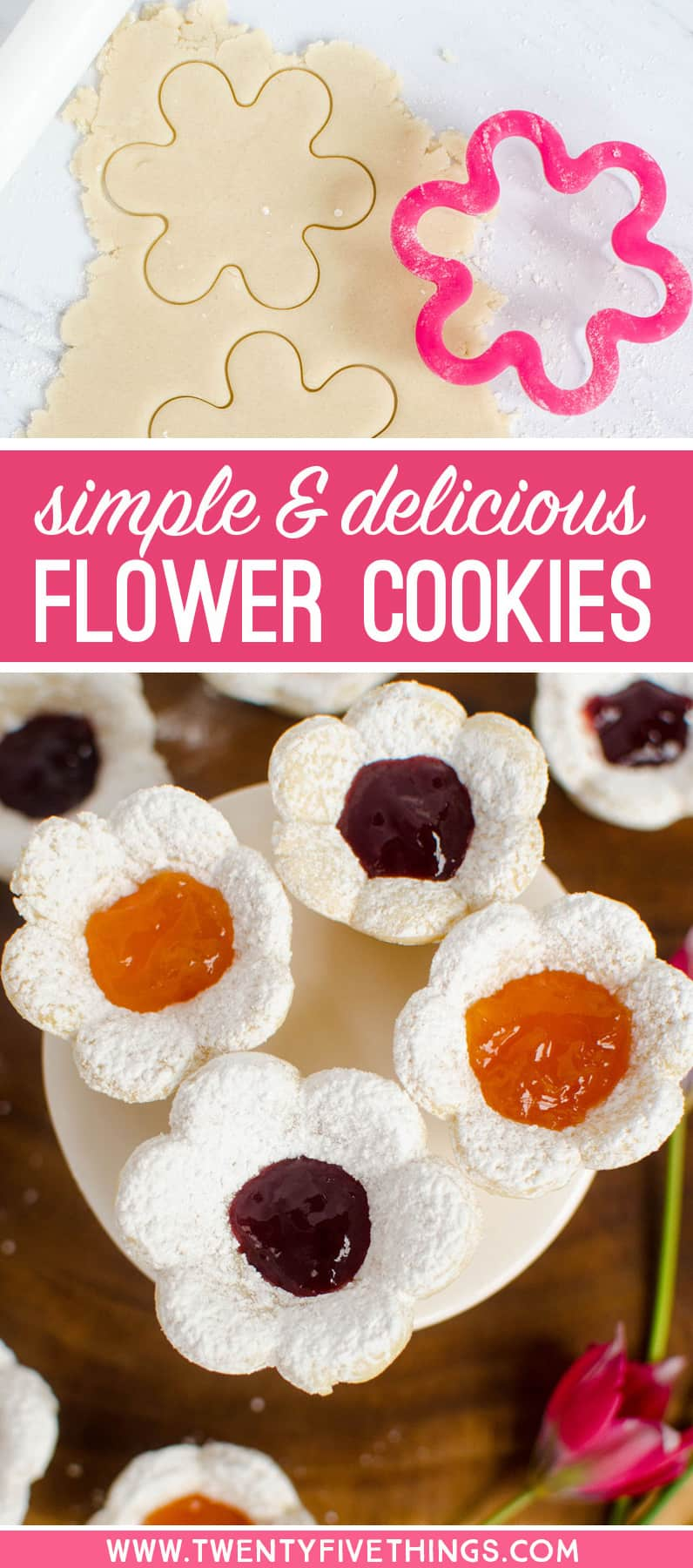Easy flower cookies for Mother's Day. If you can use a cookie cutter, you can make these easy flower cookies. Perfect cookies for a Mother's Day brunch or tea.