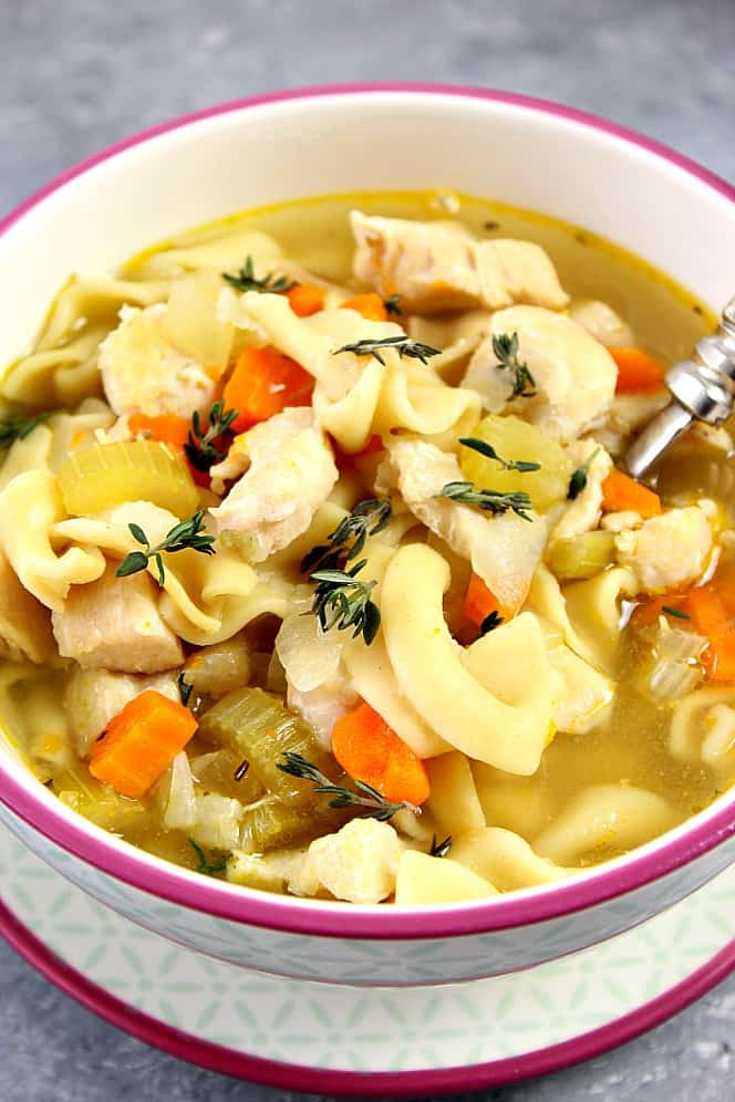 Instant Pot chicken noodle soup recipe from Crunchy Creamy Sweet