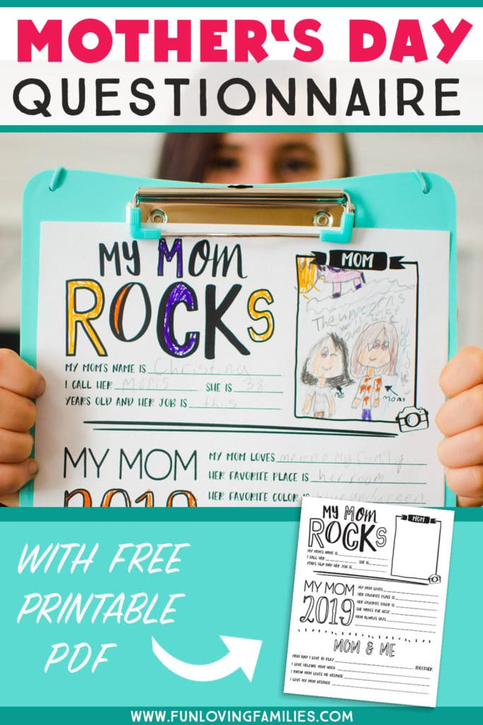 Mother's Day questionnaire for kids to fill-in and color. We do these every year and I love getting them from my kids! #mothersday #freeprintable