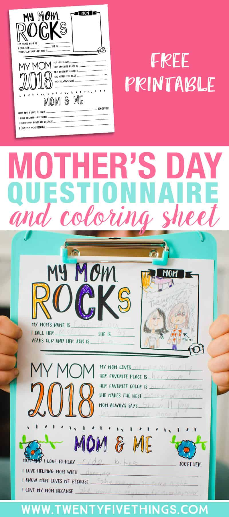 Help the little ones answer questions all about mom with this adorable Mother's Day questionnaire and coloring sheet.