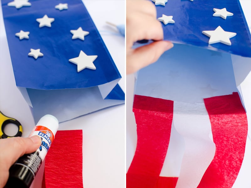 How to make a paper bag kite for July 4th.