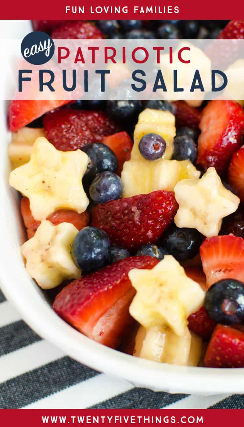 Whip up this easy, berry and banana, patriotic fruit salad recipe for Memorial Day weekend.