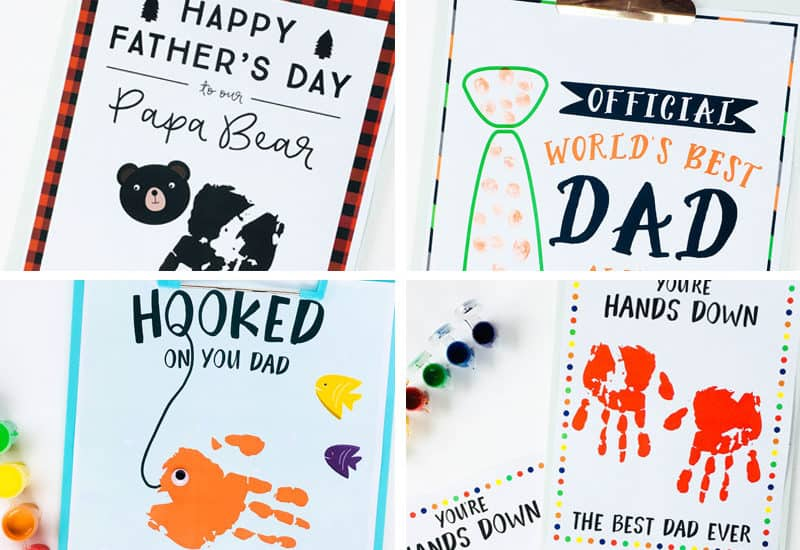 4 Father's day handprint craft ideas with free printables.
