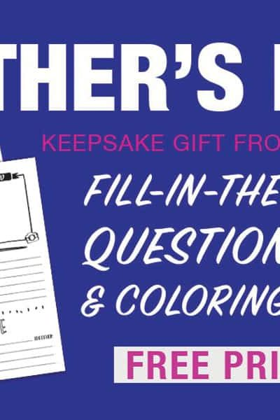 Father's Day fill-in-the-blank keepsake gift for dad from the kids.