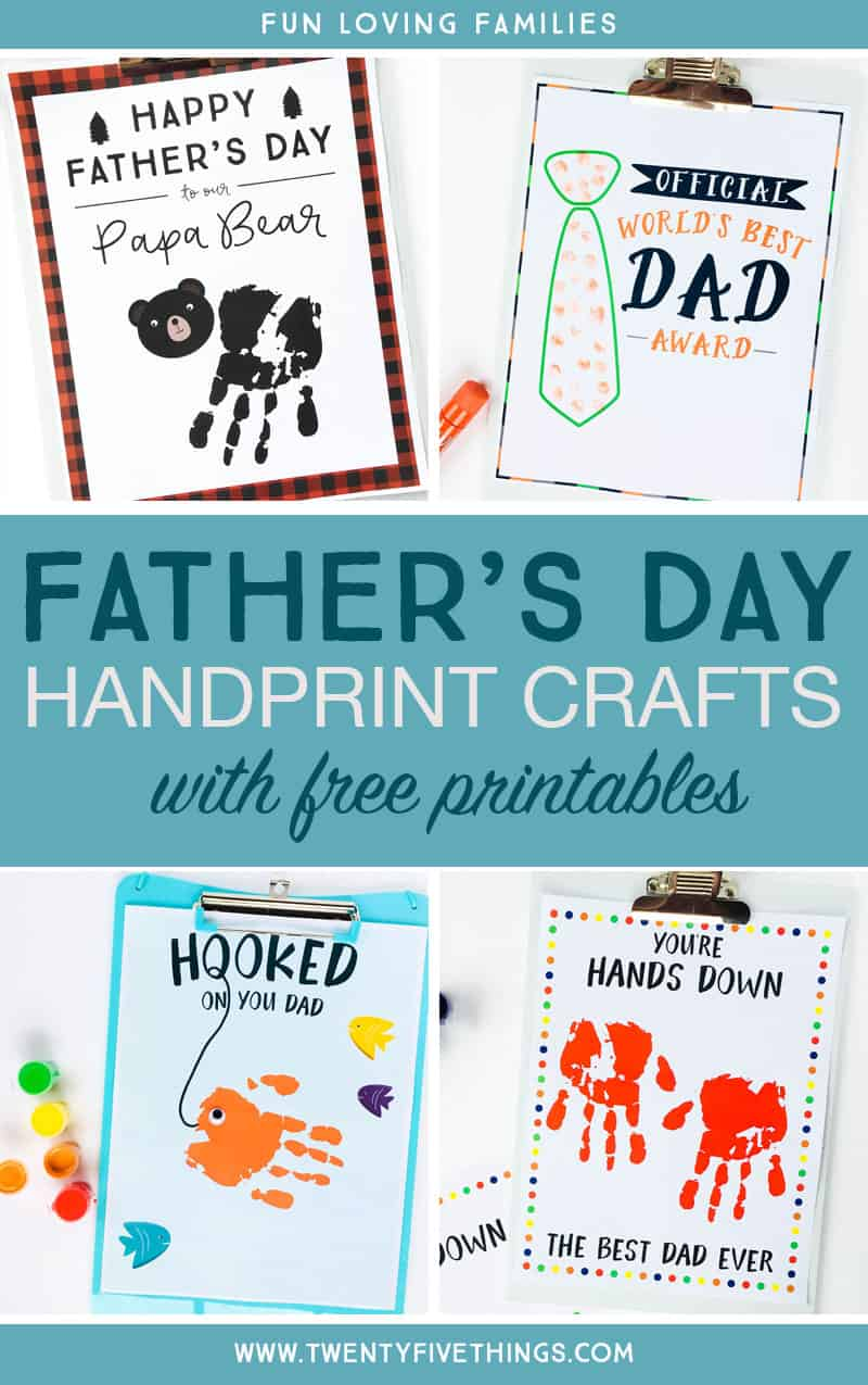 Father's Day Handprint Ideas: Make these Fathers Day handprint crafts with the free printables and your child's hand..