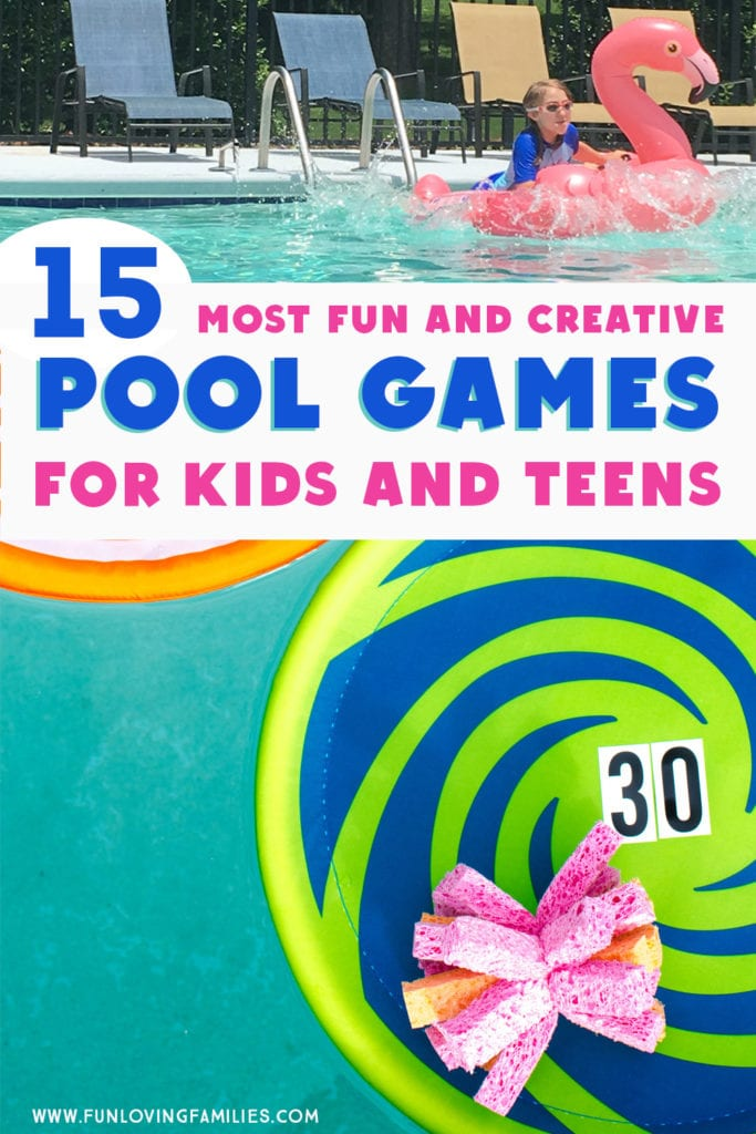 pool games in water with floats and sponges