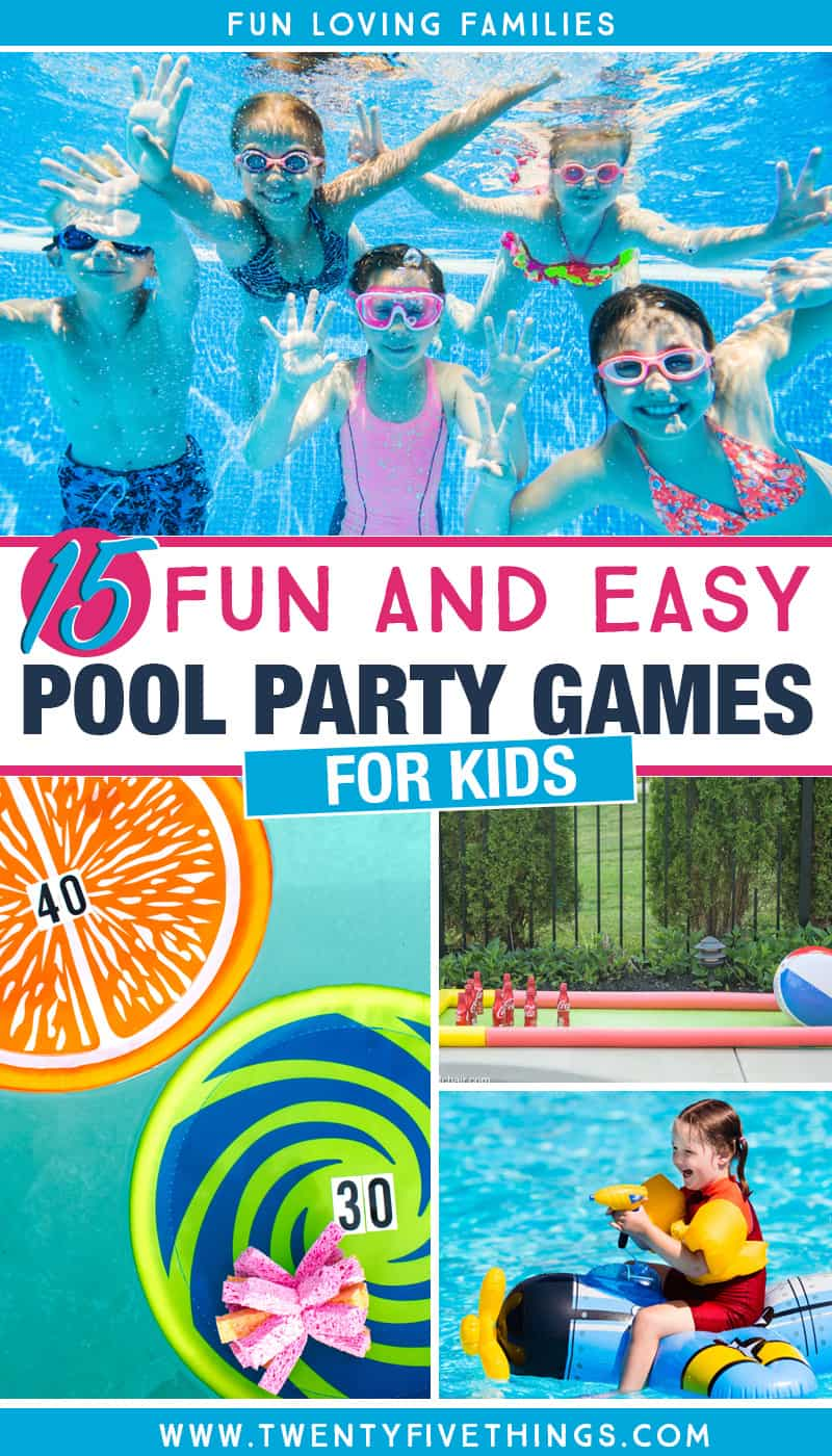 Check out our list of 15 fun and easy pool party games for kids! Lots of ideas for kids of all ages, or adults who love to have fun and be silly. #poolparty
