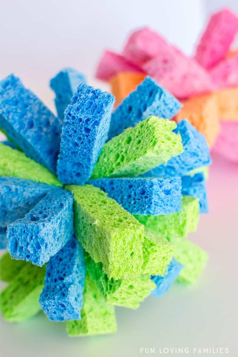 completed diy sponge balls