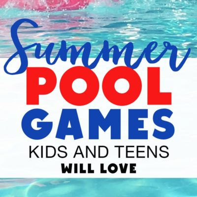 pool with float and Summer pool games text