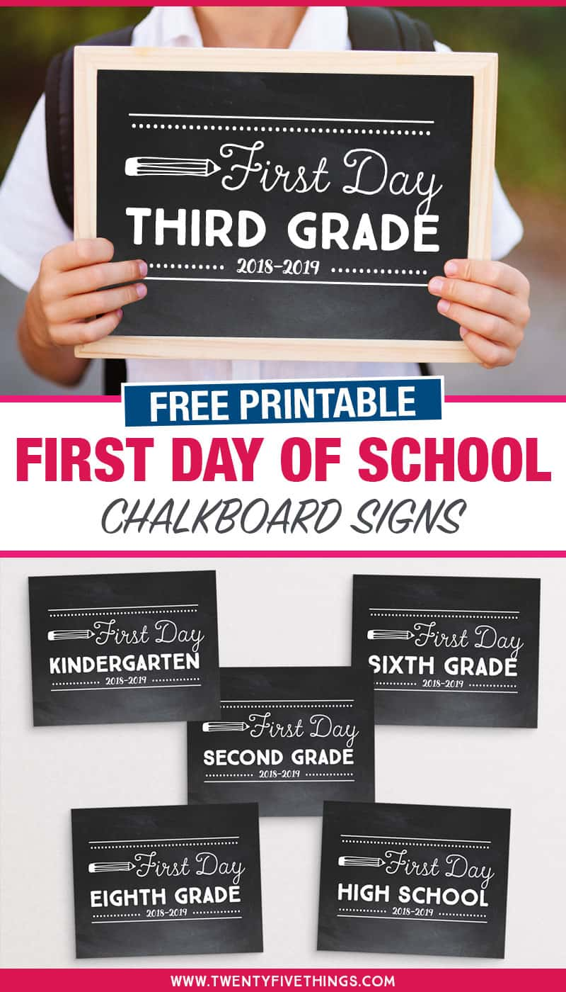 Free printable First Day of School Chalkboard signs with all grades, plus first day of preschool, first day of kindergarten, first day of middle school, and first day of high school. #backtoschool #firstdayofschool #freeprintables