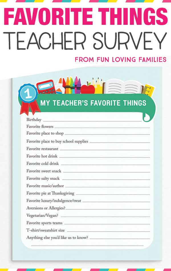 Download the Teachers Favorite Things printable so you'll always know the things that your child's teacher loves. Makes it super-easy to get teacher gift ideas throughout the year! #freeprintable #backtoschool #teachergift