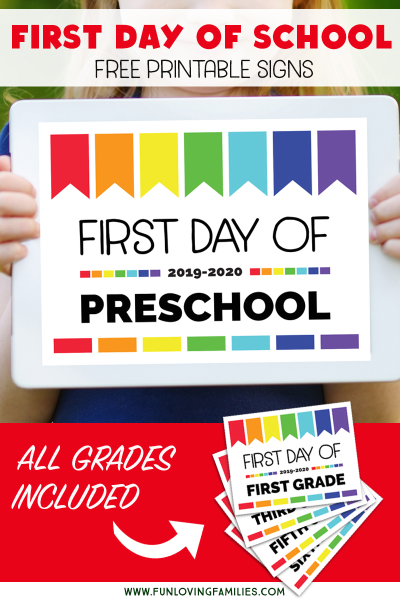 graphic about First Day of Preschool Free Printable named Initial Working day of College or university Indicators: Totally free Printables for All Grades