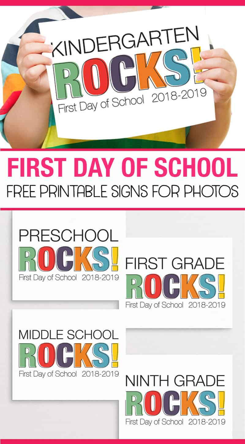 Printable first day of school signs for all grades. Perfect for back to school photos! #backtoschool #firstdayofschool #freeprintable