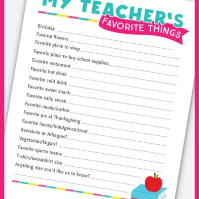Grab this free printable teacher survey to get to know the new teacher this year! I love using these to get ideas for teacher gifts throughout the year. #teachergifts #freeprintable #teachersurvey #teacherquestionnaire #printablequestionnaire