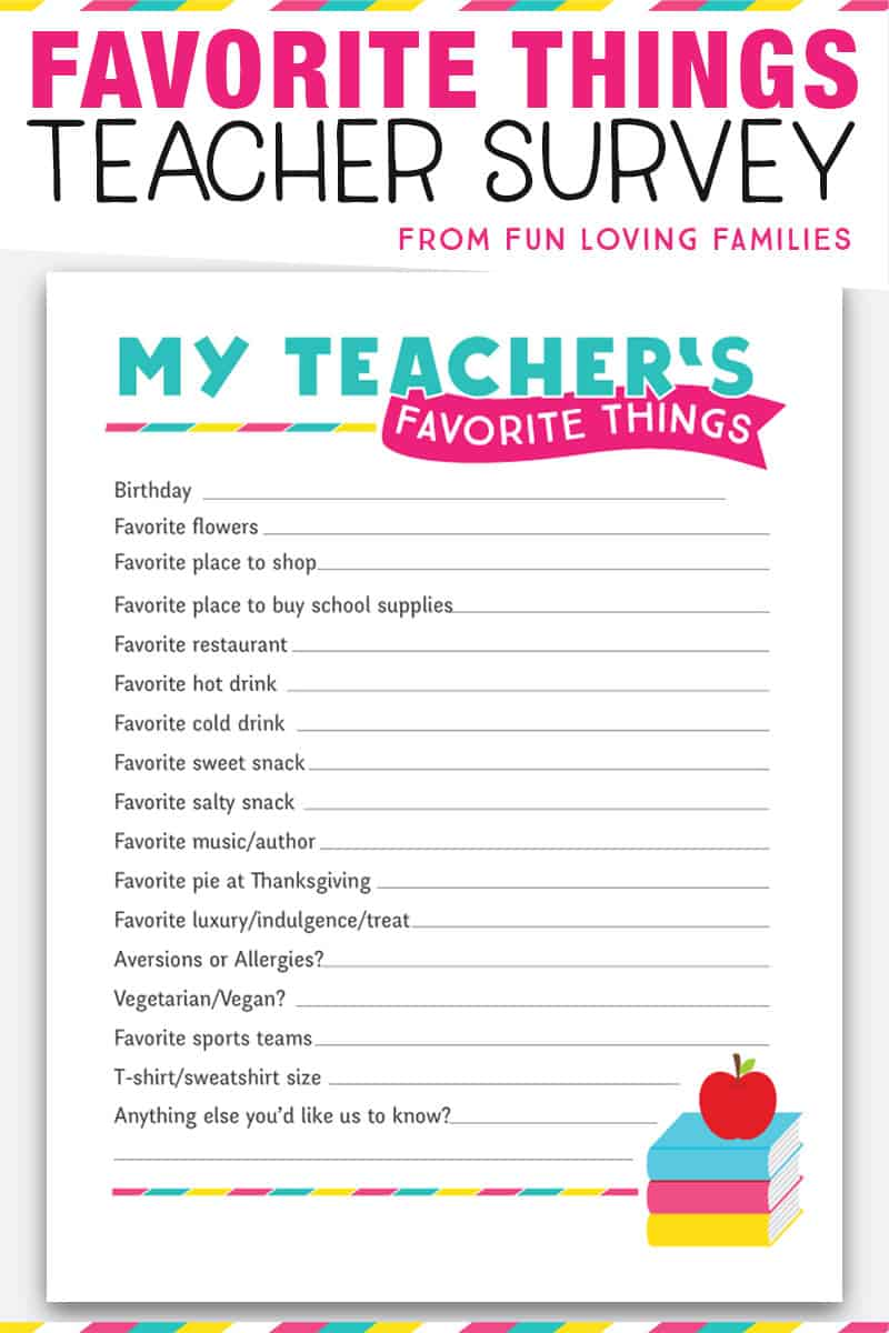 Teacher Favorite Things: Printable Questionnaire for Teacher Gifts ...